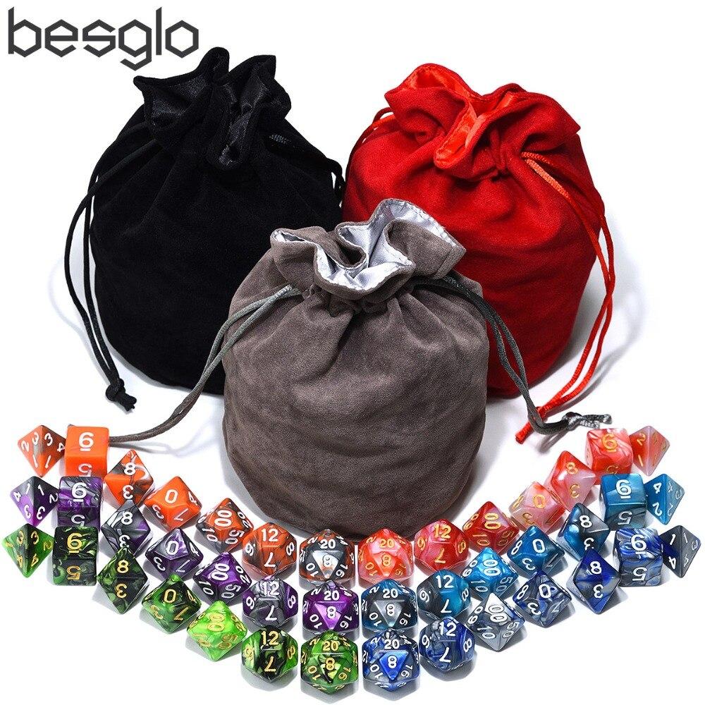 Игральные кости для подземелий и драконов RPG MTG Games 6 комплектов многогранные кости с 1 большим бархатным мешком (черная сумка, серая сумка, красная сумка)