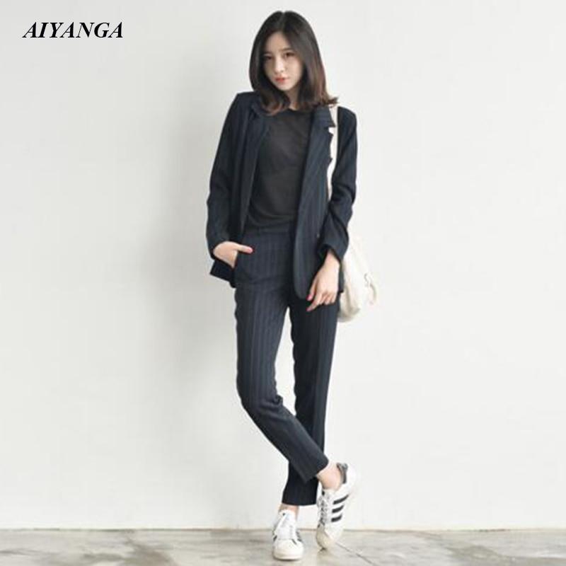 New OL Blazers Women Sets 2018 Autumn Winter Women Suits Elegant Stripe Blazers Suit Pants Female Business Attire Causal Style