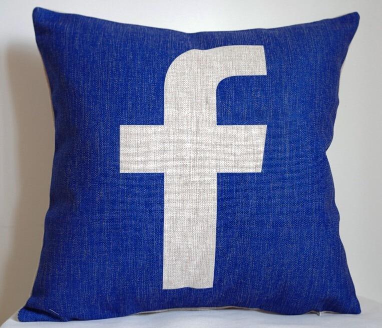 Funda de almohada Facebook, logo creativo de las redes sociales Facebook, funda de almohada al por mayor