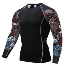 Herren fitness lange ärmeln rashguard t-shirt männer bodybuilding haut engen thermischen compression shirts mma training top getriebe