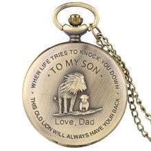 Les Lions à mon SON montre de poche hommes montres collier cadeaux de papa couleur Bronze Fob horloge cadeau danniversaire pour garçons homme
