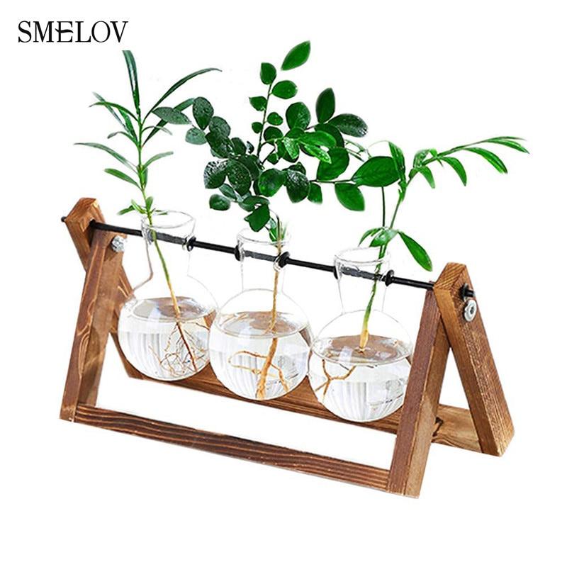 Florero botella de vidrio para plantas acuáticas, marco de madera Vintage, florero para bonsái, plantas, decoración de mesa para bodas, botella para hidroponia