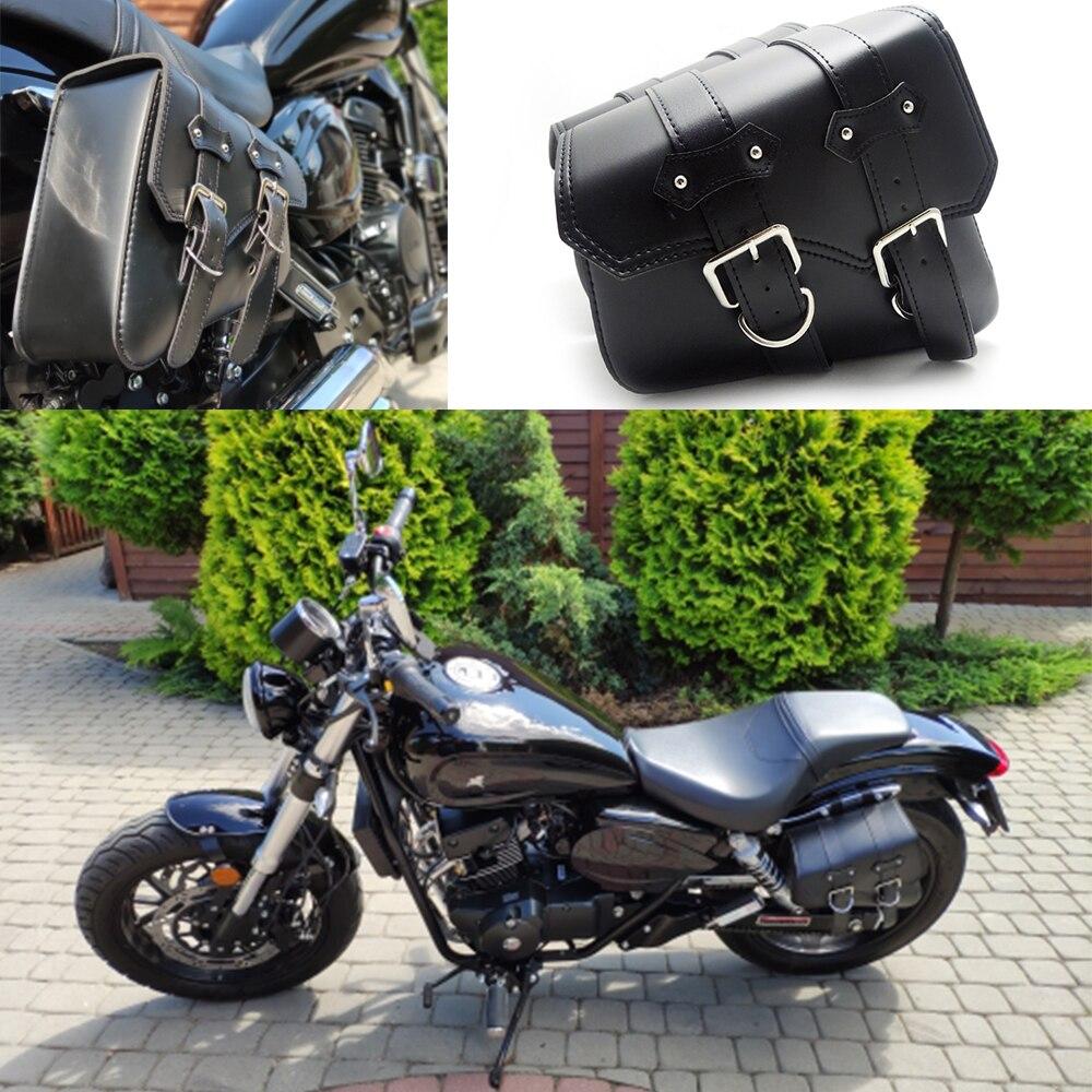 2x Универсальные сумка для мотоциклов из искусственной кожи седельные сумки для Harley Sportster XL883 XL1200 Cruiser боковые хранения Пакеты для инструмент...