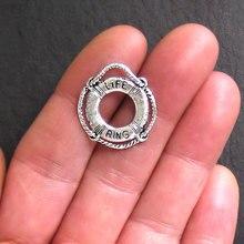 10 pc/lot 22*22mm pendentif de sauvetage Antique couleur argent porte-bonheur pour bracelets colliers bijoux à bricoler soi-même faisant