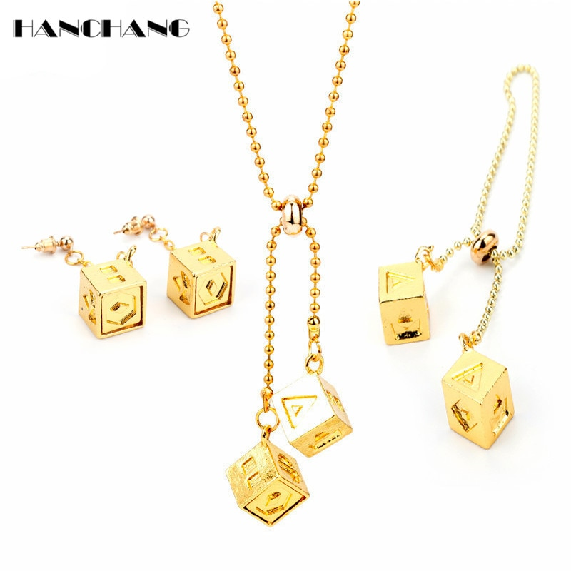 HANCHANG Star Wars Han Solo Lucky Dice Jewelry Set Necklace+Stud Earrings+Bracelets for Women Good Luck Accessories