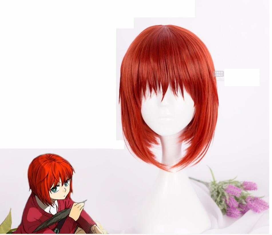 Anime Mahoutsukai no Yome Hatori Chise Cosplay peluca corta naranja resistente al calor rojo Peluca de pelo sintético + tapa de la peluca