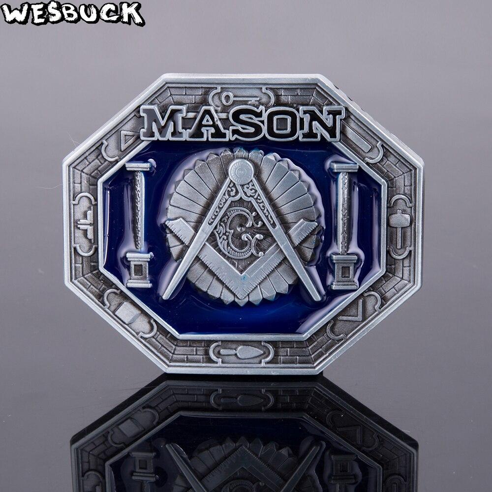 WesBuck Brand Mason Belt Buckles Metal for Man Women Tools Trangle Blue West Buckles Men Metal Cowboy Fivela Marvel Fivelas De