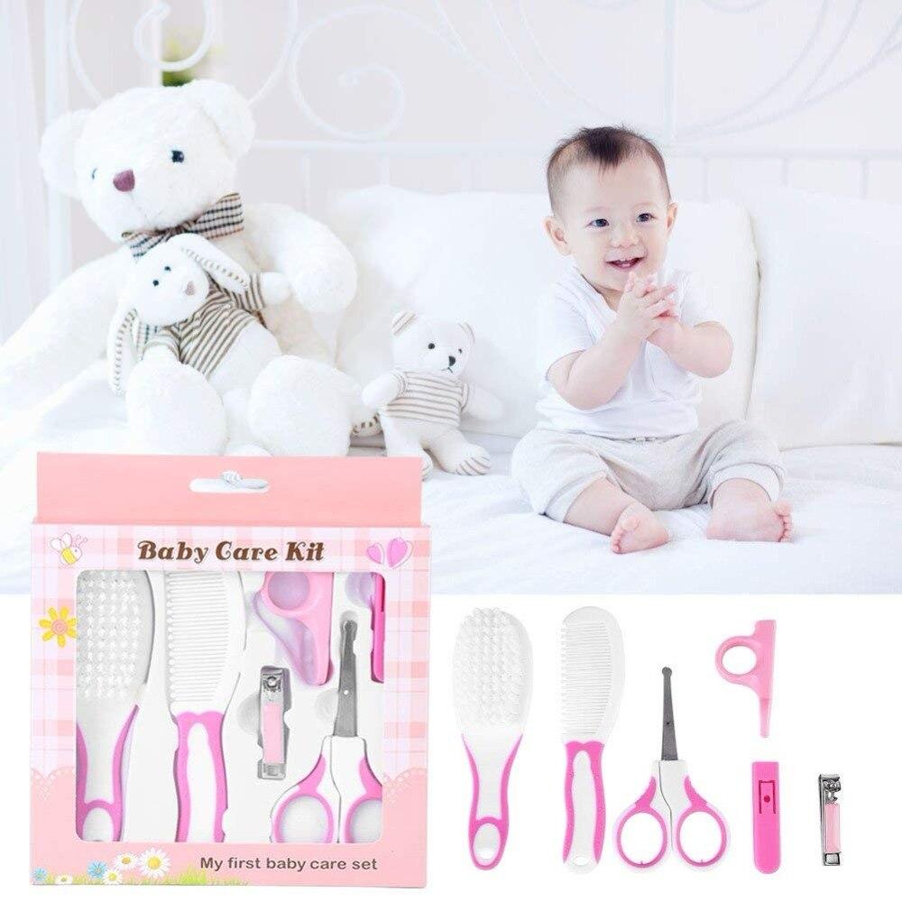 6 unids/set Set de cuidado de uñas de bebé recién nacidos diario cortaúñas tijeras venir cepillo de pelo Kits niños cortaúñas Kit de aseo