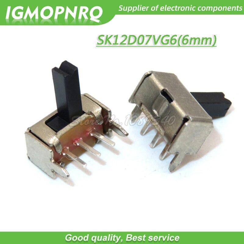 50 pces sk12d07vg6 diminuto interruptor de corrediça spdt 3 pinos pcb 2 posição 1p2t botão lateral lidar com alta 6mm igmopnrq