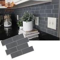 Autocollant mural 3D auto-adhesif effet carrelage en brique grise  pour la decoration de la maison  mur de la cuisine et salle de bain