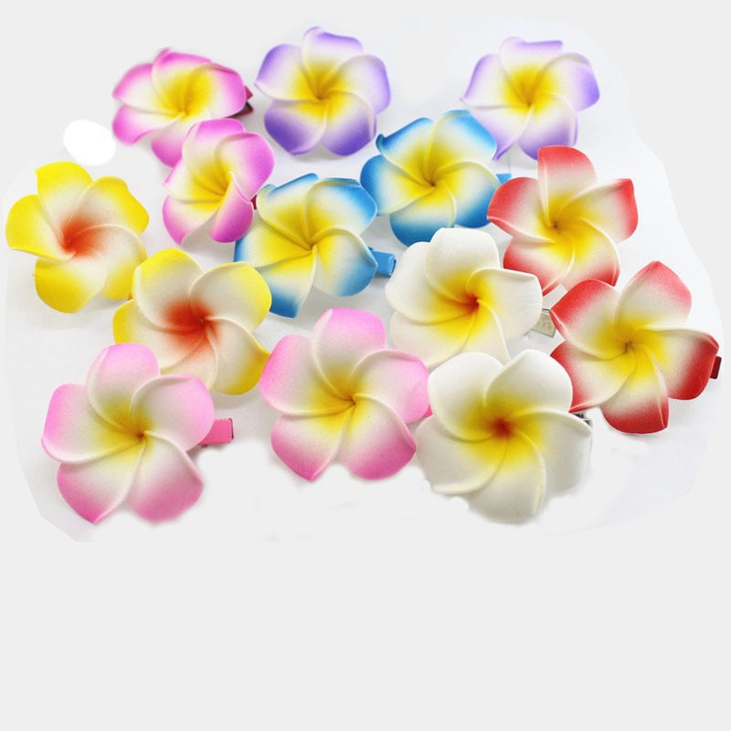 50 unids/lote color mezclado espuma hawaiana Plumeria flor Frangipani pinza de pelo nupcial 4,5 cm