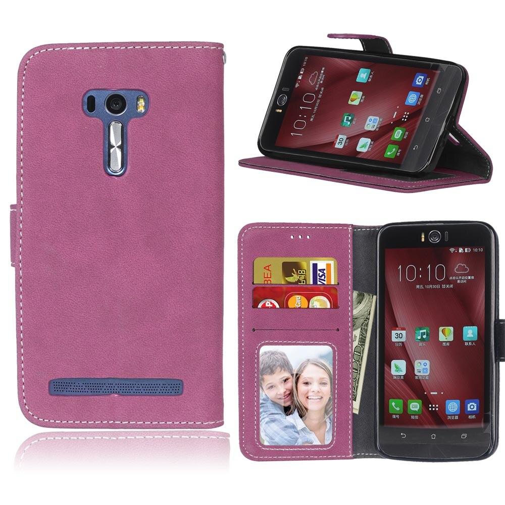 Funda de moda para Asus Zenfone Selfie ZD551KL (5,5) carcasa cubierta trasera esmerilada bolsos porta tarjetas fundas de teléfono móvil de lujo PU