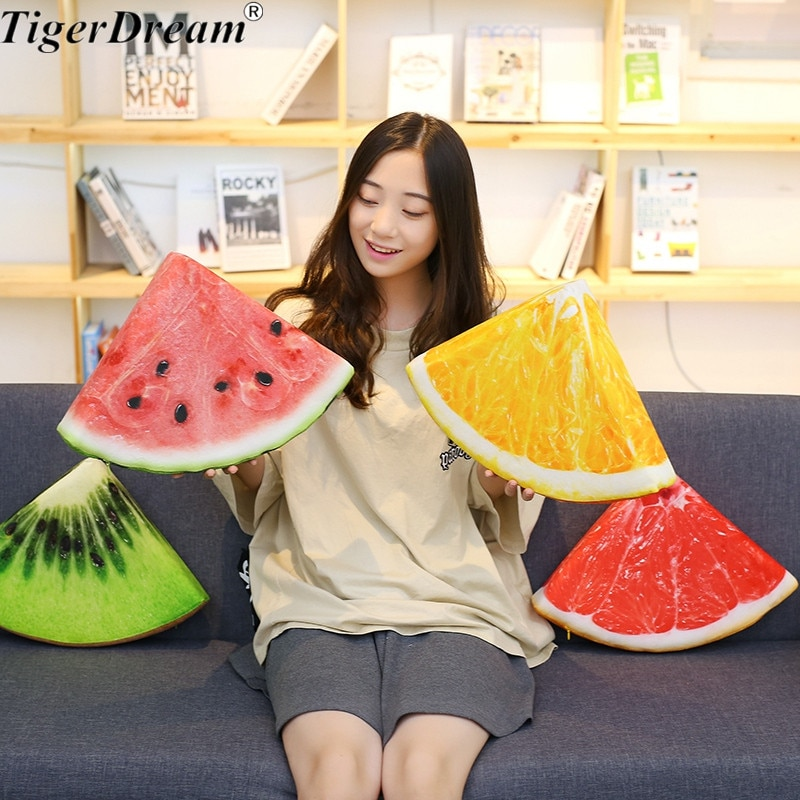 Creative Soft Watermelon Kiwi Orange Grapefruit Sleeping Pillows Stuffed Fruit Cushions Childrens Room Decoration Toys 4 Style