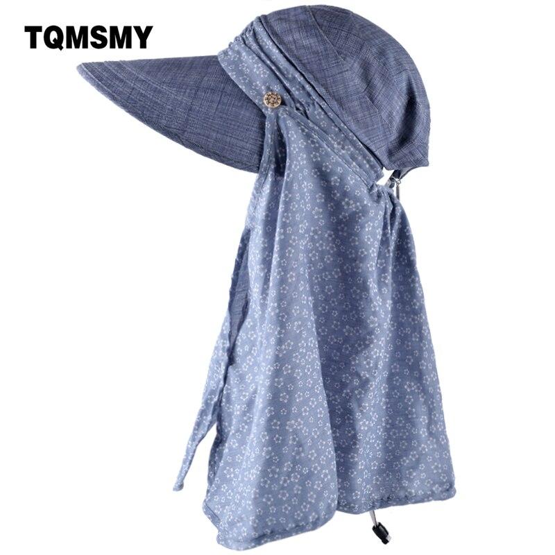 TQMSMY sombreros de sol de verano para las mujeres anti UV con bufanda plegable sombrero diseño de la Pequeña Flor proteger el cuello turbante bowknot gorras TMP08