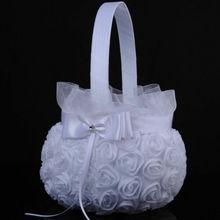 Wedding Ceremony Party Ivory Satin Bowknot Rhinestone Pearl Flower Girl Basket