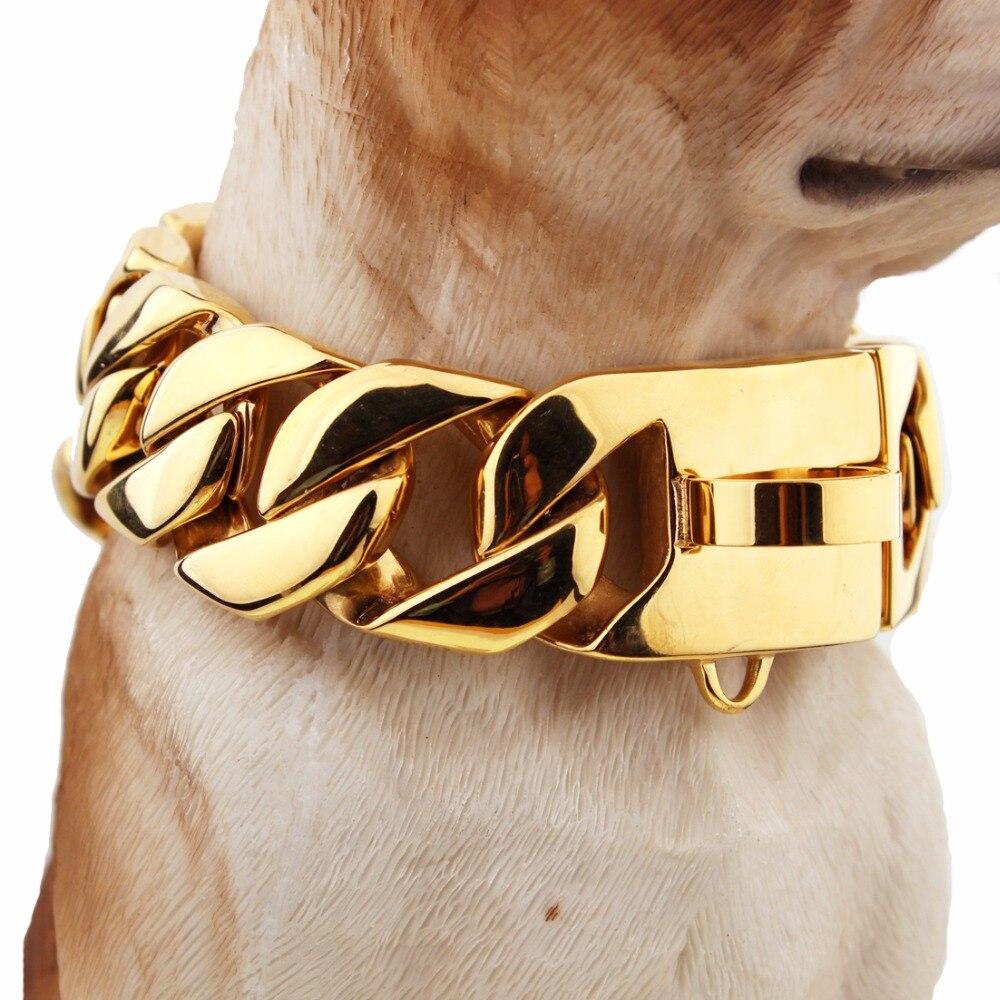 Gargantilla de entrenamiento de seguridad para mascotas de 24/30mm de alto corte de acero inoxidable con eslabón curvo cubano Collar de Perro fuerte Color dorado 18-26 pulgadas