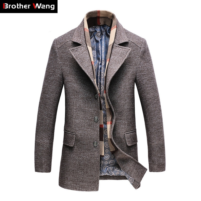معطف شتوي غير رسمي للرجال موضة 2020 من الصوف معطف طويل ذو ثخن مناسب للأعمال التجارية معطف رجالي ضيق ملابس من علامة تجارية 1717
