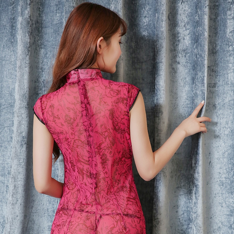 Classical women's cheongsam lace sexy transparent lace pajamas skirt thin section elastic rose red pajamas comfortable and soft enlarge