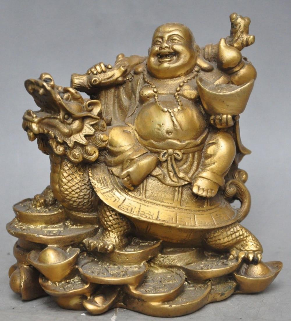 Simbolo de riqueza de bronce chino moneda dinero lingote Maitreya Buda Tortuga, dragón estatua artesanía de metal