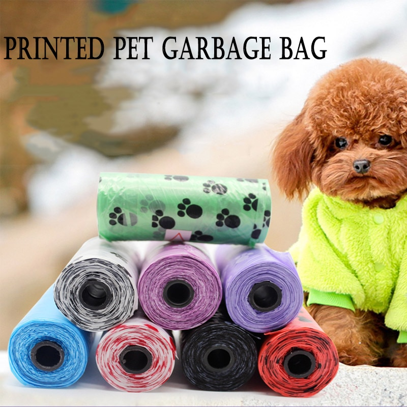@HE Dog Bags Pet Supply 10Rolls 150pcs Printing Cat Dog Poop Bags Outdoor Home Clean Refill Printed Pet Garbage Bag