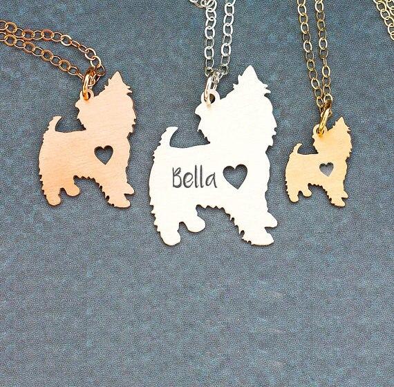 2018 las nuevas mujeres joyas de mascotas Yorkshire Terrier regalo collar de Yorkshire nombres personalizados o cartas Dropship aceptado YP6369