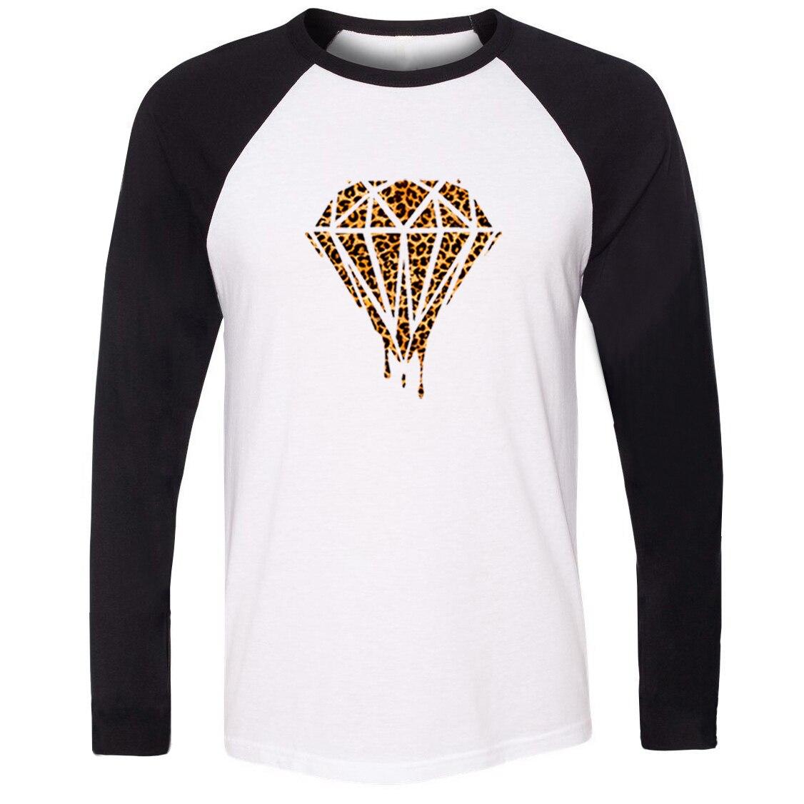 IDzn, camiseta de leopardo y diamante de galaxia que se derrite, camiseta raglán de algodón, camisetas de hombre de manga larga, Tops de marca para mujer, chico y chica