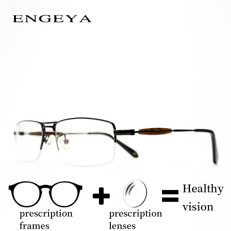 Alloy Eyewear Prescription Glasses Men Square Clear Vintage Anti Fatigue Eye Glasses for Sight High