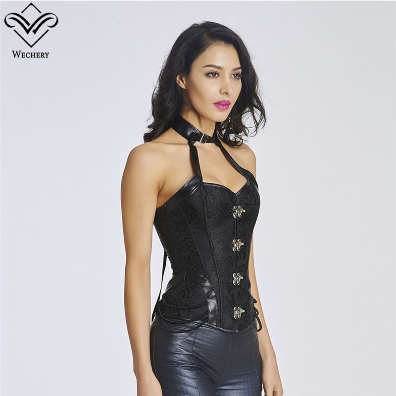 Wechery goth gótico punk halter corset gargantilha topo bustier feminino couro preto floral oco para fora design sem mangas superior corsele