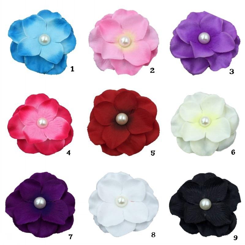 50 unids/lote 6cm 9 colores recién nacido Mini Flor de fieltro coreana para niñas accesorios para el cabello tela hecha a mano flores para diademas