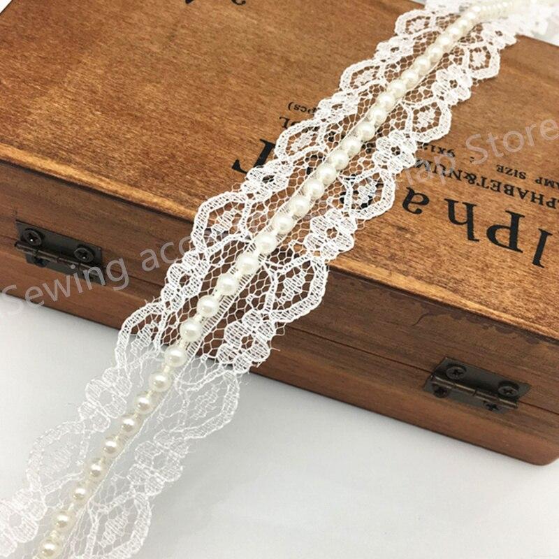 5 yardas 3cm Estilo Vintage encaje cinta con perlas nupcial elegante boda (marfil) 5BB5490