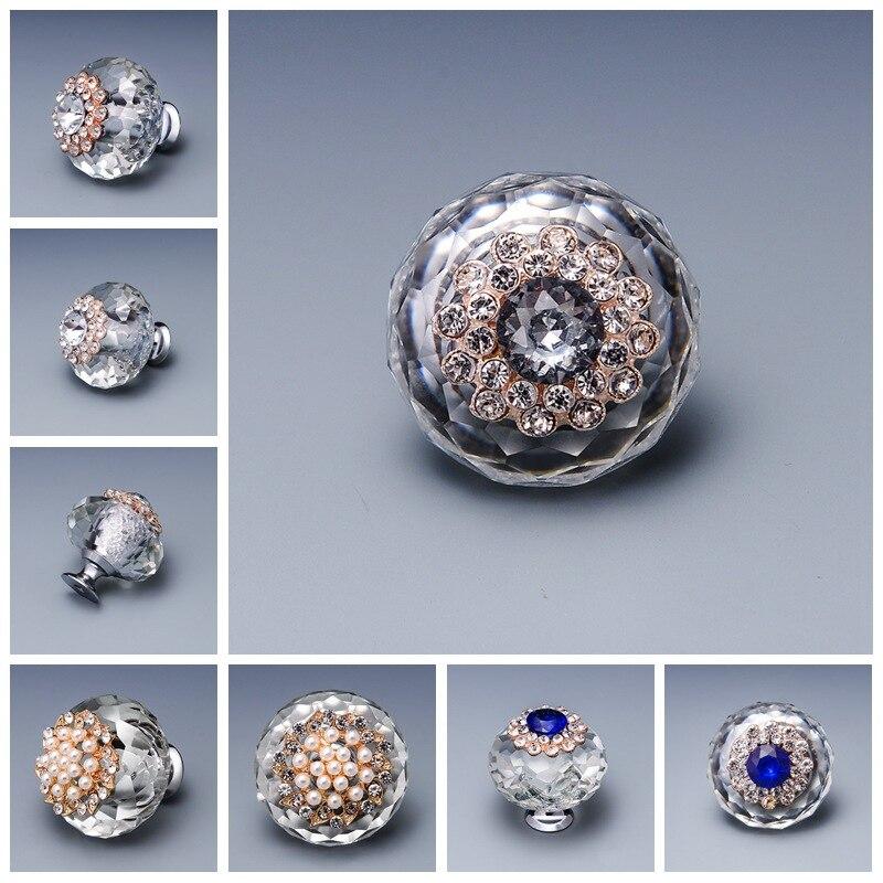 JD 40 MM cristal diamante perla manija armario grande ducha cajón manija muebles Hardware