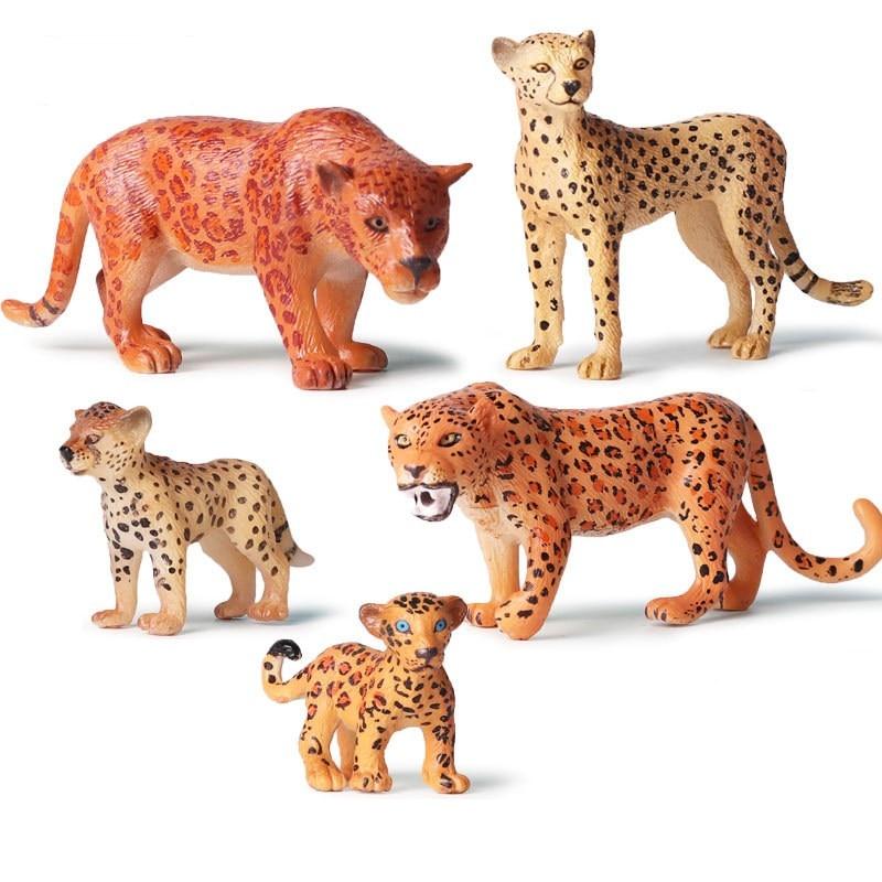 Simulation Cheetah Figurines Animal Leopard Model Garden Decoration Desk Decoration Home Decor Ornaments Kids Gift Toys