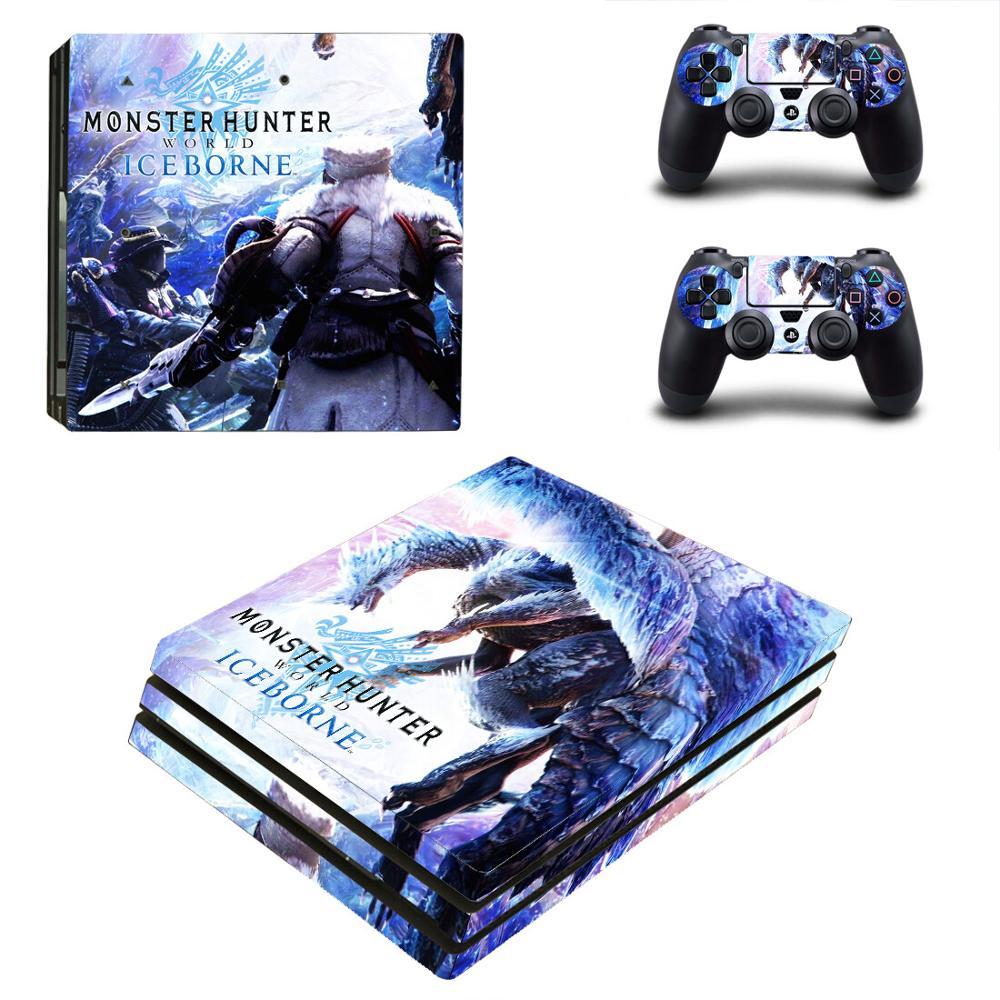 Monster Hunter World icebort PS4 pegatina de recubrimiento adhesivo profesional para consola PlayStation 4 y 2 controladores PS4 recubrimiento adhesivo profesional de vinilo