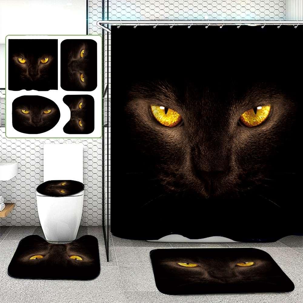 3D Черный кошачий глаз занавеска для душа с принтом w/12 крючков + 3 шт нескользящие двери туалета коврики крышка коврик ковер декор для ванной, ...