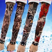 Manga larga falso tatuaje Clibe bicicleta playa tatuaje brazo calentadores manguito cráneo/Flores/manga de araña cubierta UV protección solar nuevo 4PC