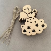 20 pcs laser cut wooden christmas decoration christmas tree wood angel girl home decoration