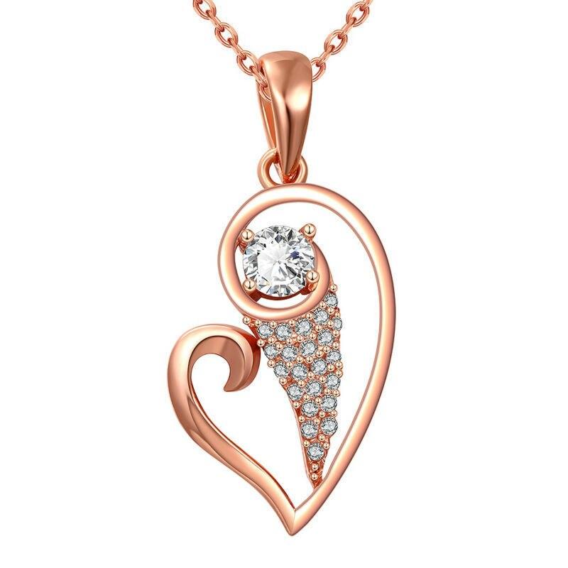 Cristal corazón encanto oro rosa ópalo colgante collares mujeres joyería señora collar N855
