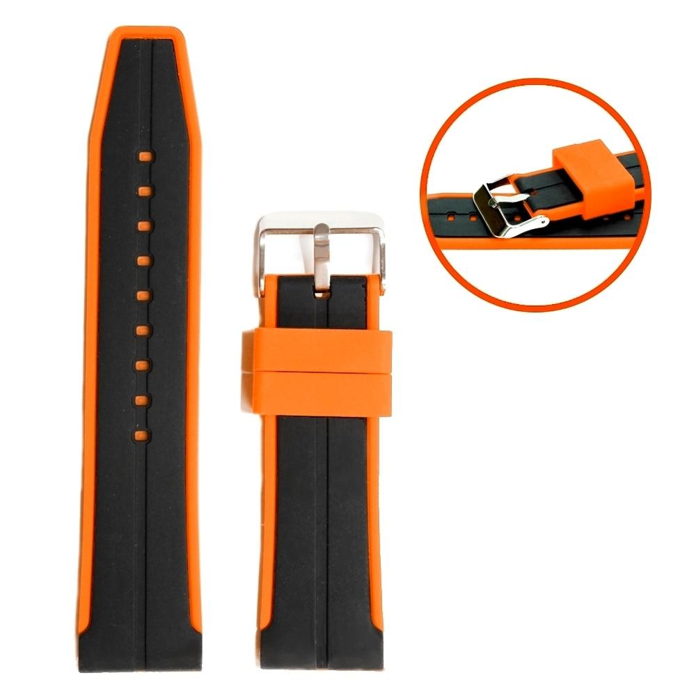 24mm dos tonos color negro con naranja buena silicona Unisex Correa reloj WB1048A24JB
