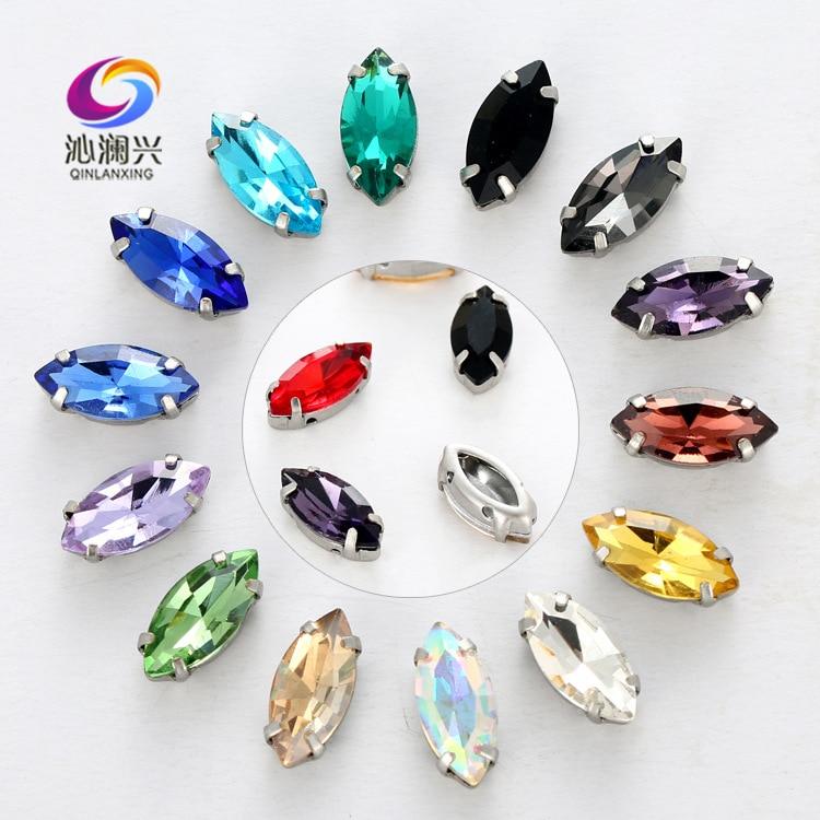 Venta de fábrica, de cristal con diamantes de imitación Inoxidable base de cobre grueso en forma de ojo, piedra para coser accesorios de ropa Diy