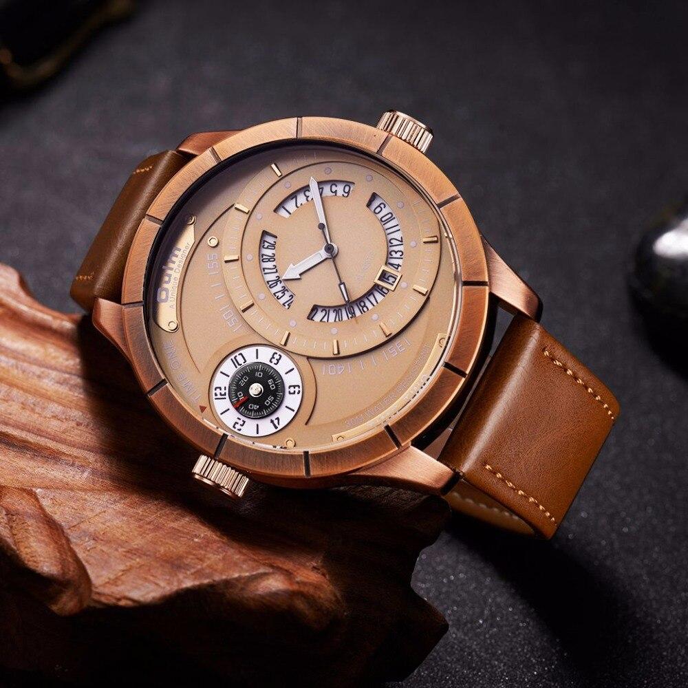 Oulm, relojes deportivos para hombre, dos zonas horarias diferentes, reloj de cuarzo con calendario único, reloj de pulsera para hombre de lujo de marca de gran tamaño