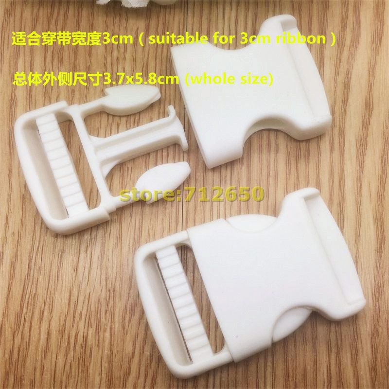 Free shipping 10 pcs 30mm Plastic Buckles White Color Garment School Bag accessories For wholesale a