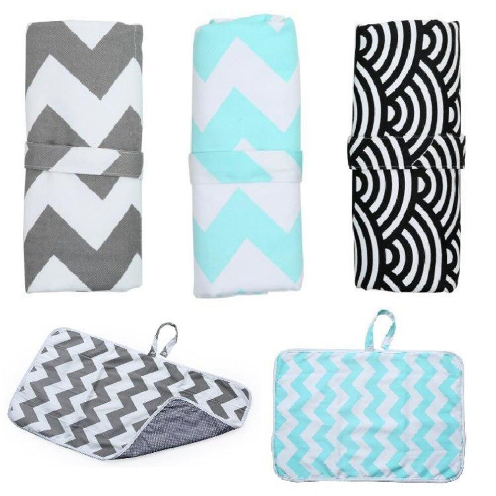Portátil manos limpias que cambian la almohadilla de impresión impermeable cochecito colgante bolsa de pañales embrague plegable de viaje pañal alfombrilla para cambiar pañales