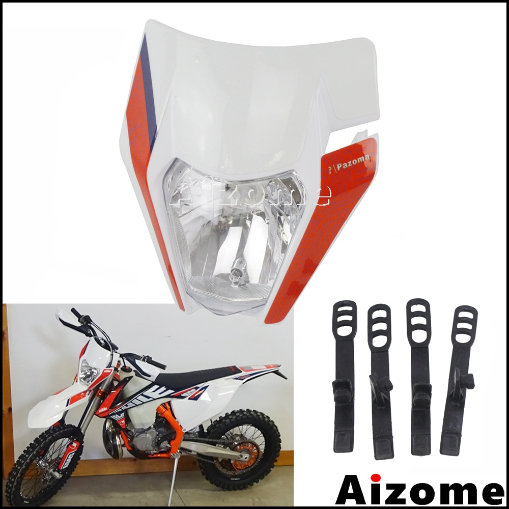 White Dirt Bike Emark Headlamp Mask Enduro Sticker Headlight For KTM XC EXC XCF XC-W EXC-F Six Days 300 350 450 500 2018 2019