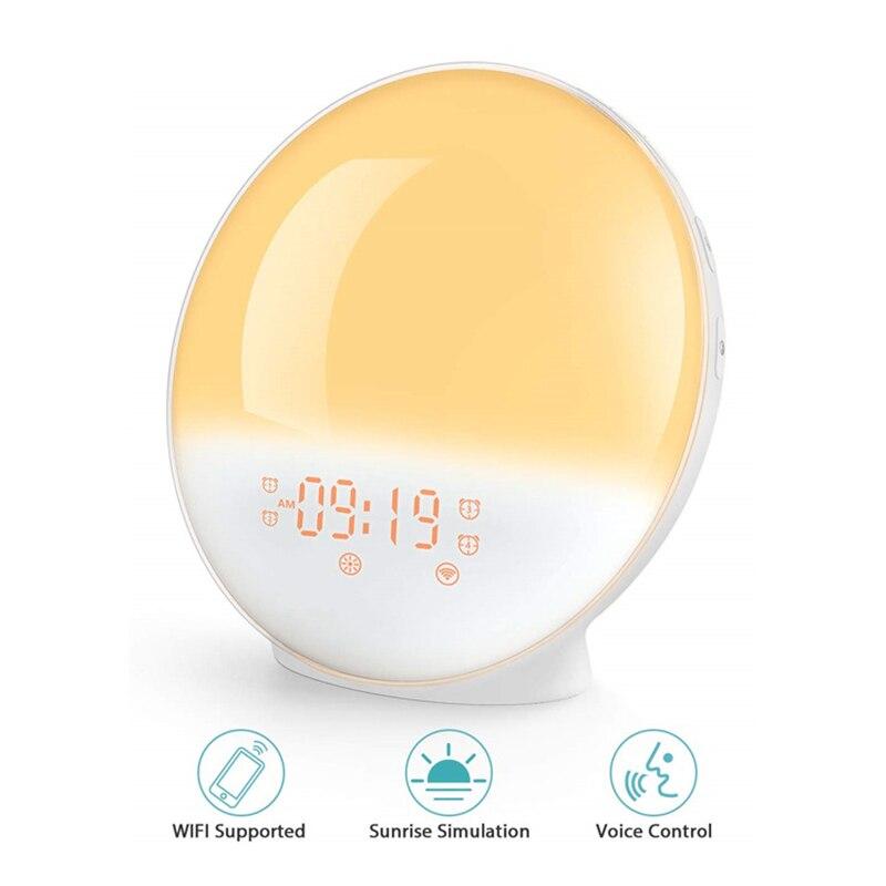 Wifi voz som despertador led simulação do nascer do sol com rádio fm snooze clock lxy9