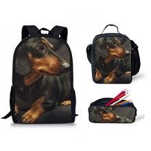 Customized New Dachshund Dog Printing 2019 Women Shoulder Backpack For Children Travel Laptop Man Black Bag Girl Lunch Box Kid