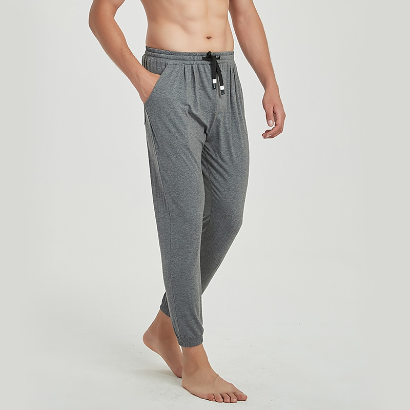 Primavera Verano otoño Delgado Modal suave de algodón Lounge pantalones de noche para hombres pijamas sueltos transpirables elásticos para el hogar hombres Sleep Bottoms