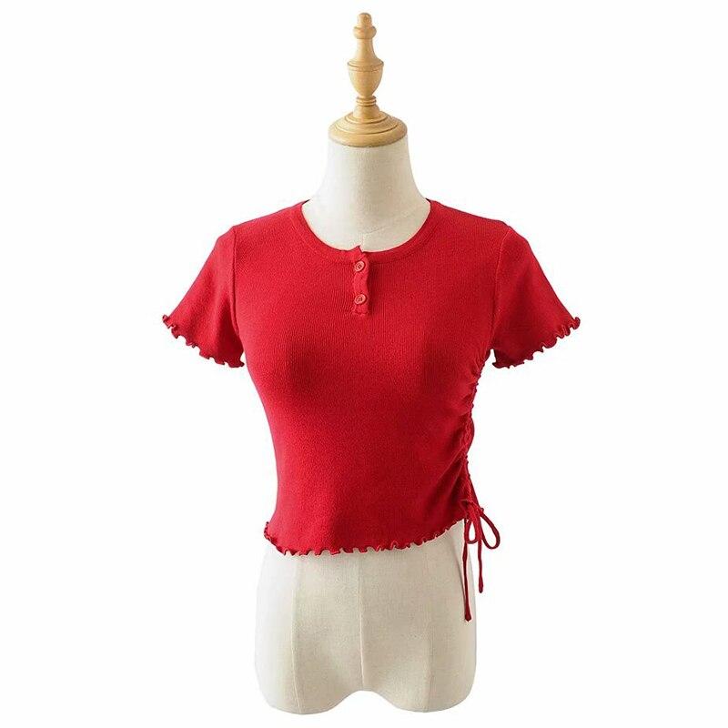 Mujeres Slim manga corta Ruffled Slashf cuello recortado camisetas señora Stretchy Draw String Crop Tops camisetas para niñas