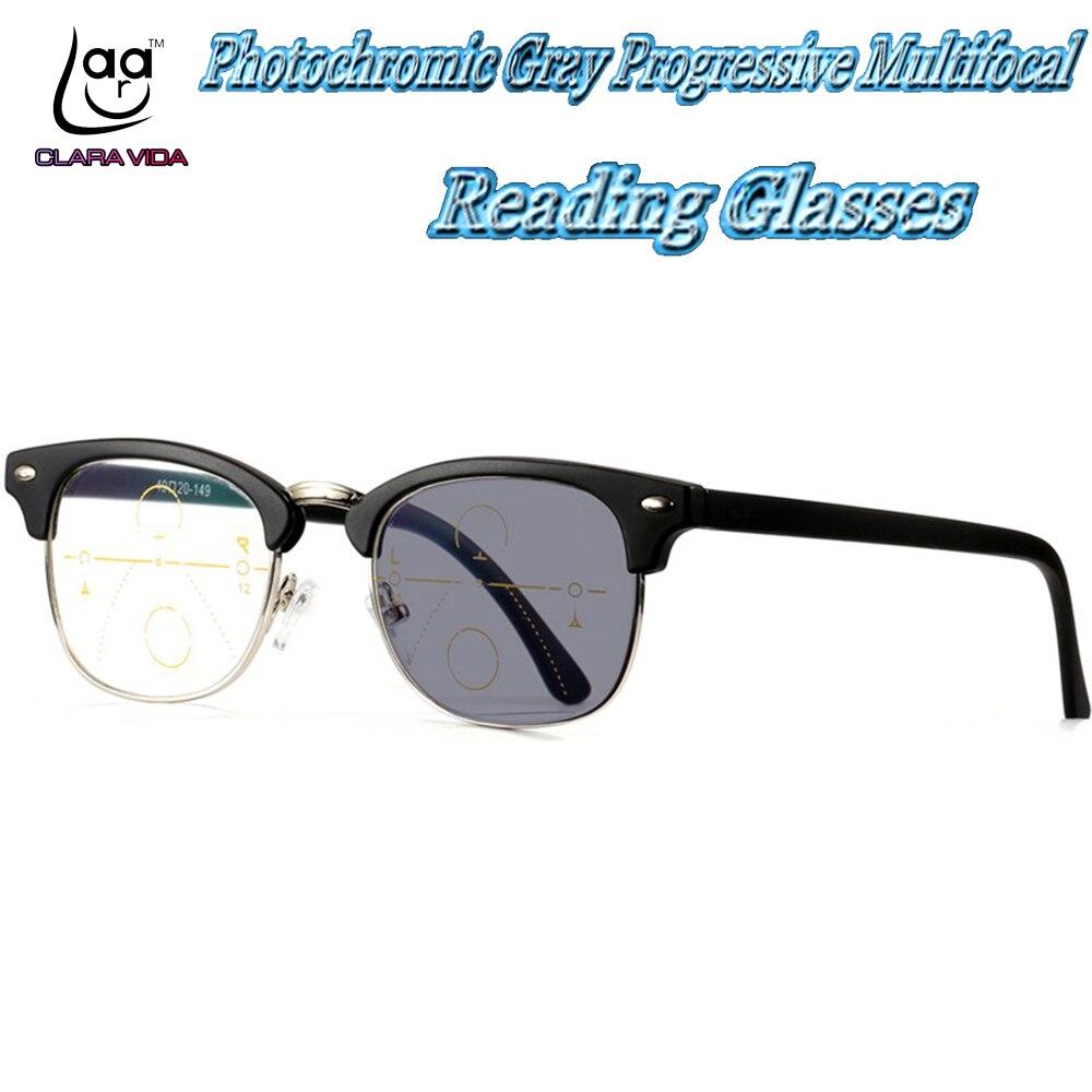 Photochromic Gray Progressive Multifocal Reading Glasses