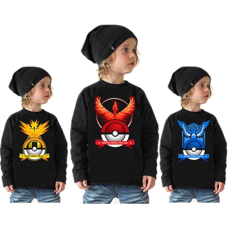 Worlds Hot Mobile Game Pokemon Go Printed Cotton Tee Shirt Pokemon Boys T shirt  Boys Long Sleeve Shirt Pokemon Shirt Kids