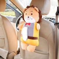 Cartoon Car Tissue Bag Holder Backseat Hanging Paper Tower Storage Box Cute Lion Fox Rabbit Seat Back Auto Accessories Toys